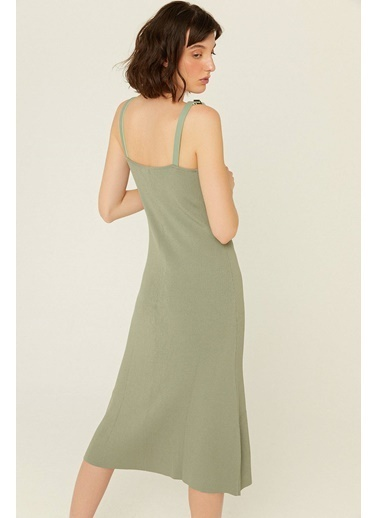 Rue Askılı Uzun Triko Elbise Haki